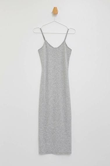 DeFacto Askılı Uzun Elbise Gri
